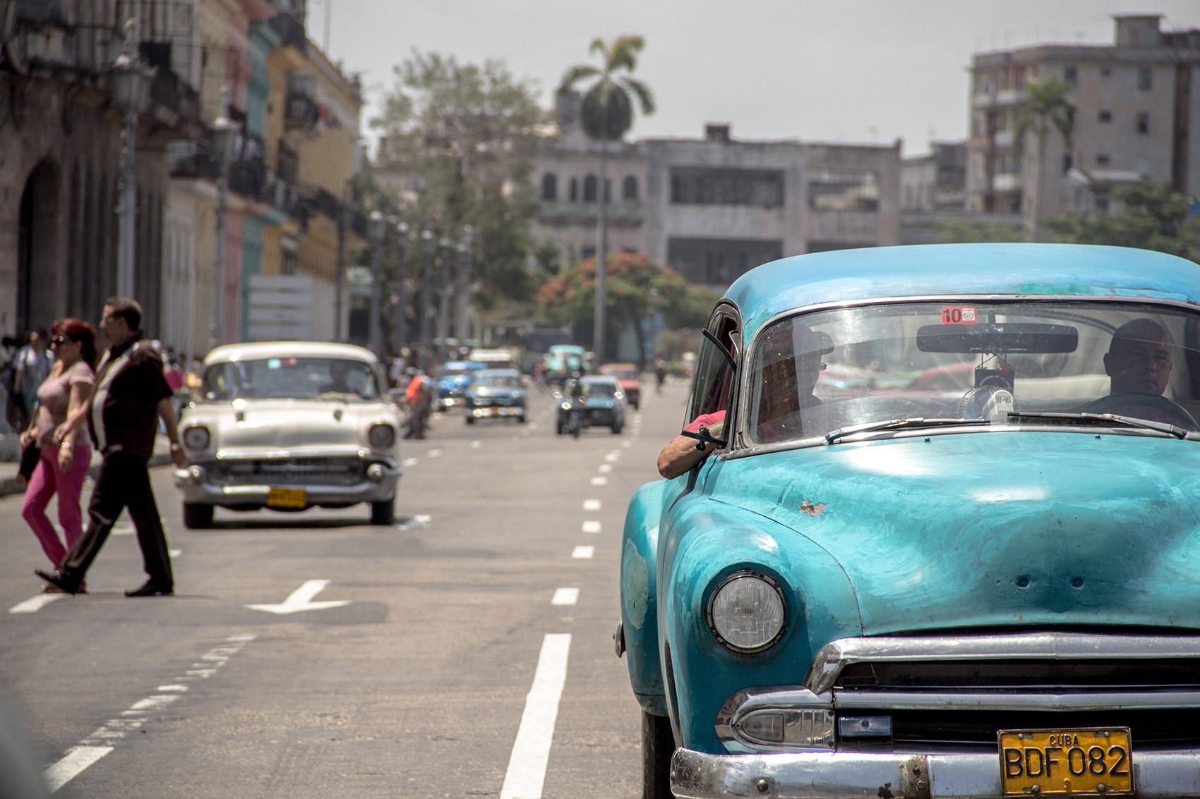 Typical pastel color 50s car in Havana