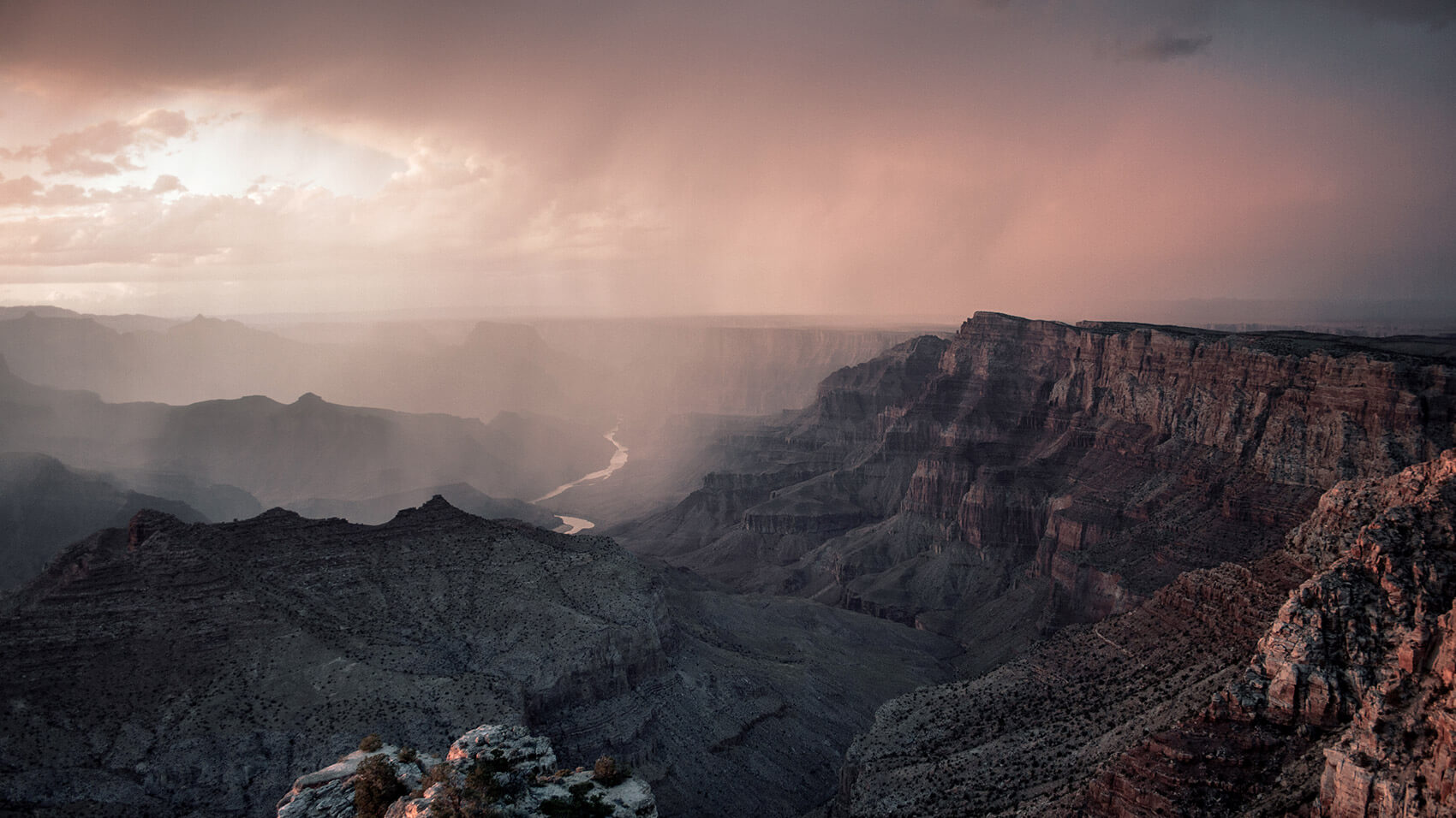 South Rime of the Grand Canyon at sunset with Colorado river in the background