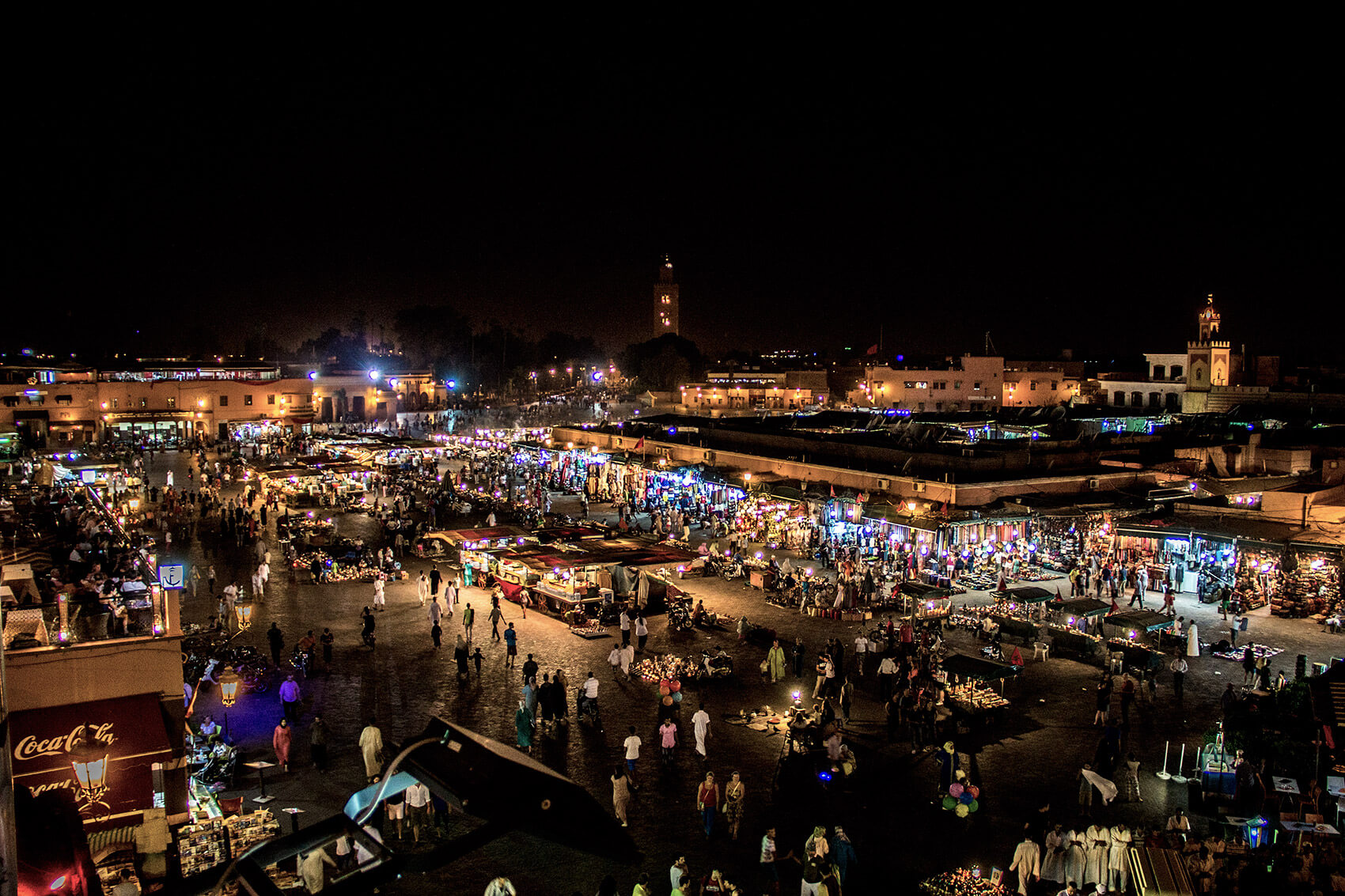 Jemma El Fna in Marrakech at night