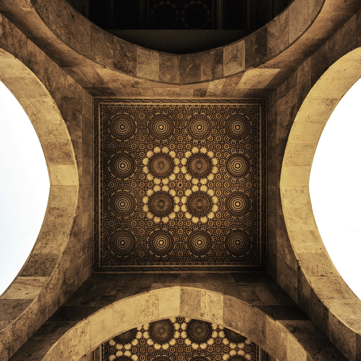 Roof detail of Hassan II Mosque in Casablanca