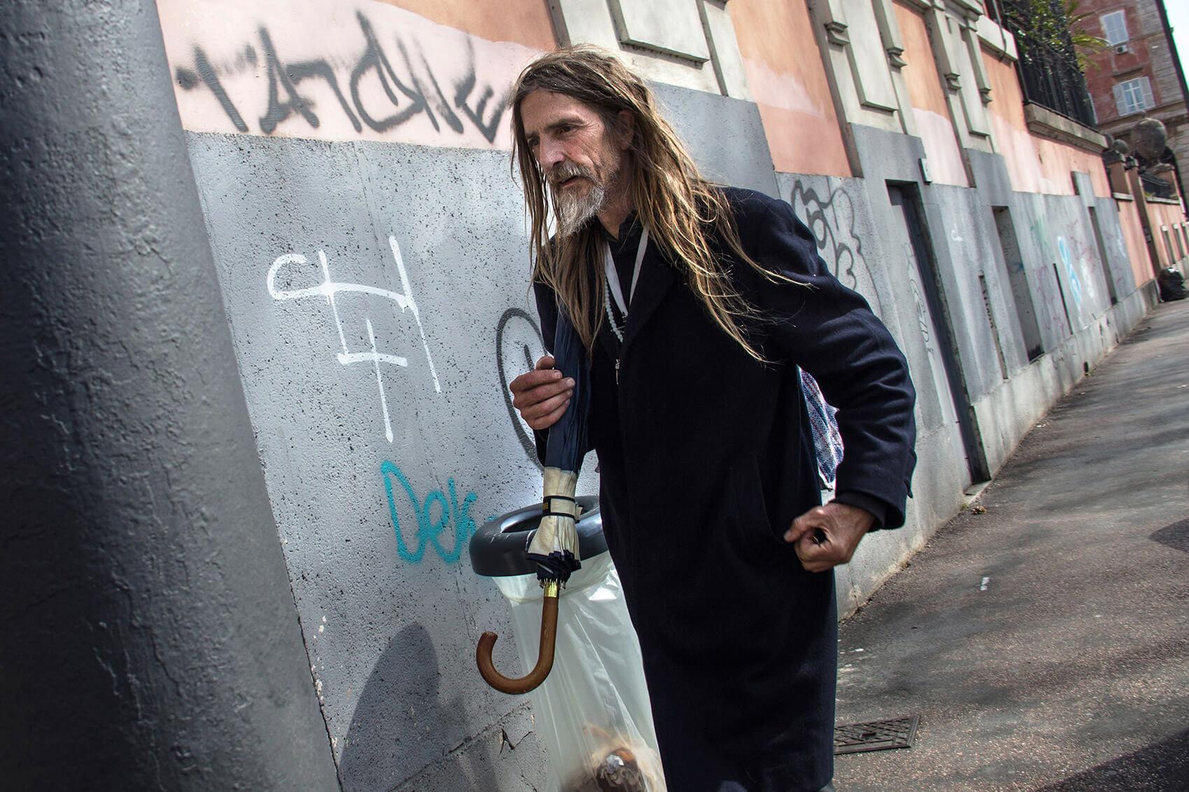 Urban Jesus walking down the street