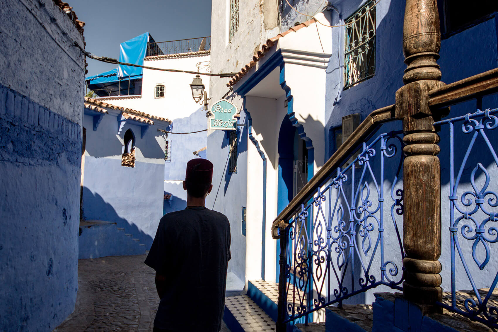 Alleyways of Chefchaouen, the Blue City in northern Morocco