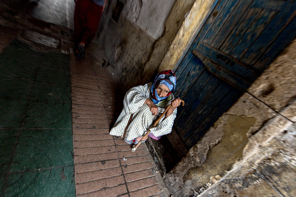 Old woman In the alleyways of Essaouira